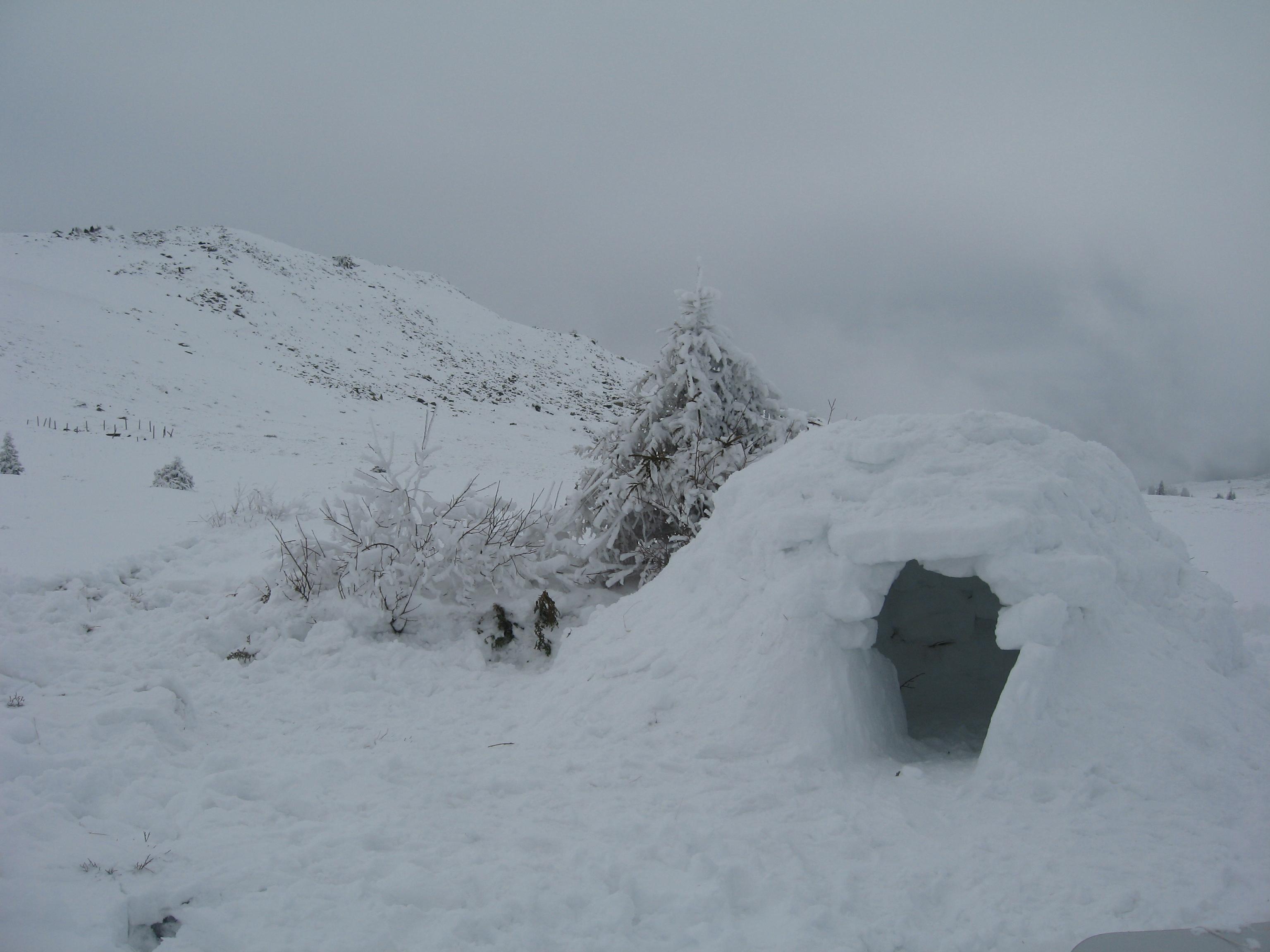 Готовото иглу на фона на планината